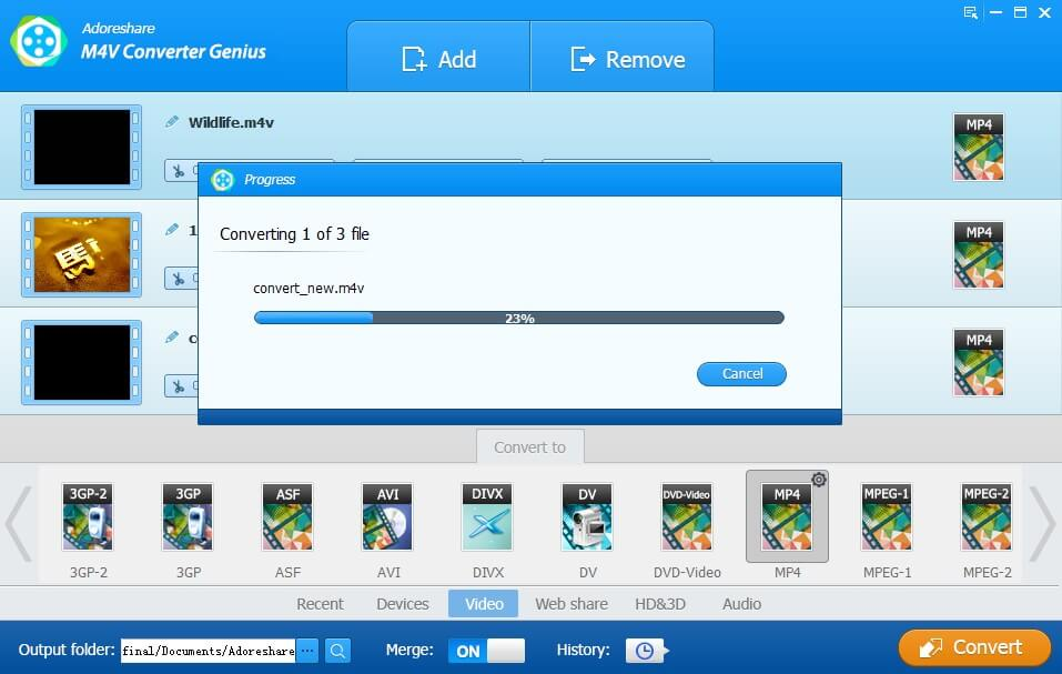 convert itunes .m4v to .mp4