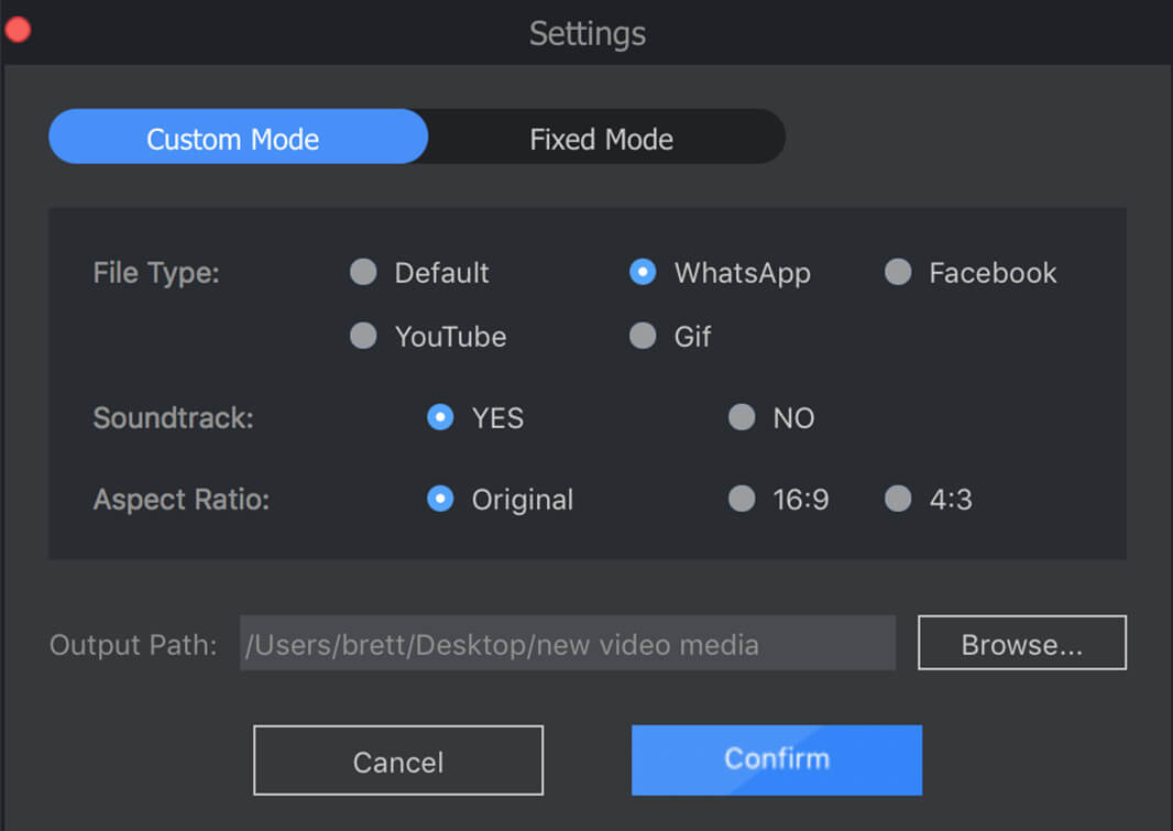 how to cut video parts to whatsapp