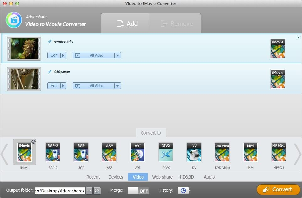 Adoreshare Video to iMovie Converter for Mac – 将视频转换为适用于 iMovie 的格式[OS X]丨反斗限免