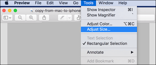 use preview to adjust image size on mac