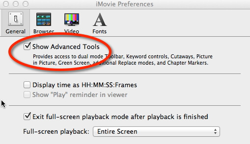 advanced tools in imovie
