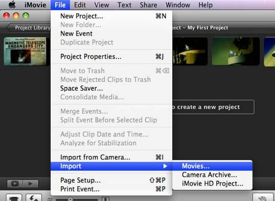 import videos from iphoto to imovie