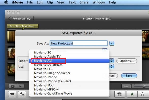 export imovie project to avi