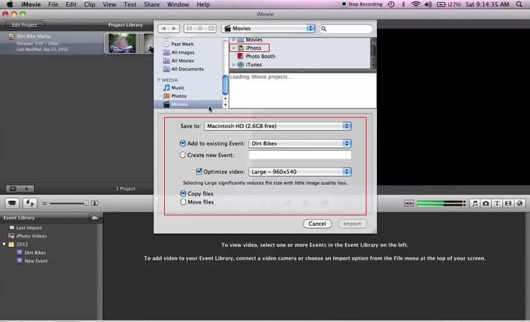 upload movies from iphoto to imovie