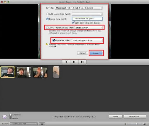 ransfer videos from a camera to imovie
