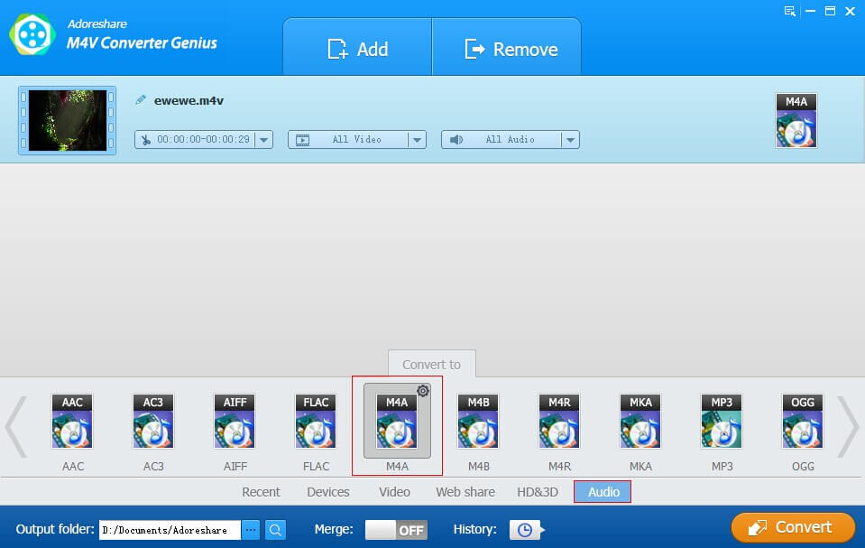 M4V Video to M4A Audio Converter – Extract M4A from M4V