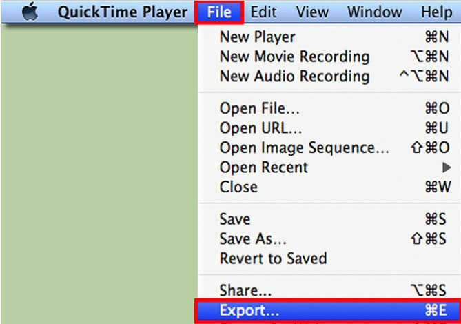 export quicktime mov to mp4