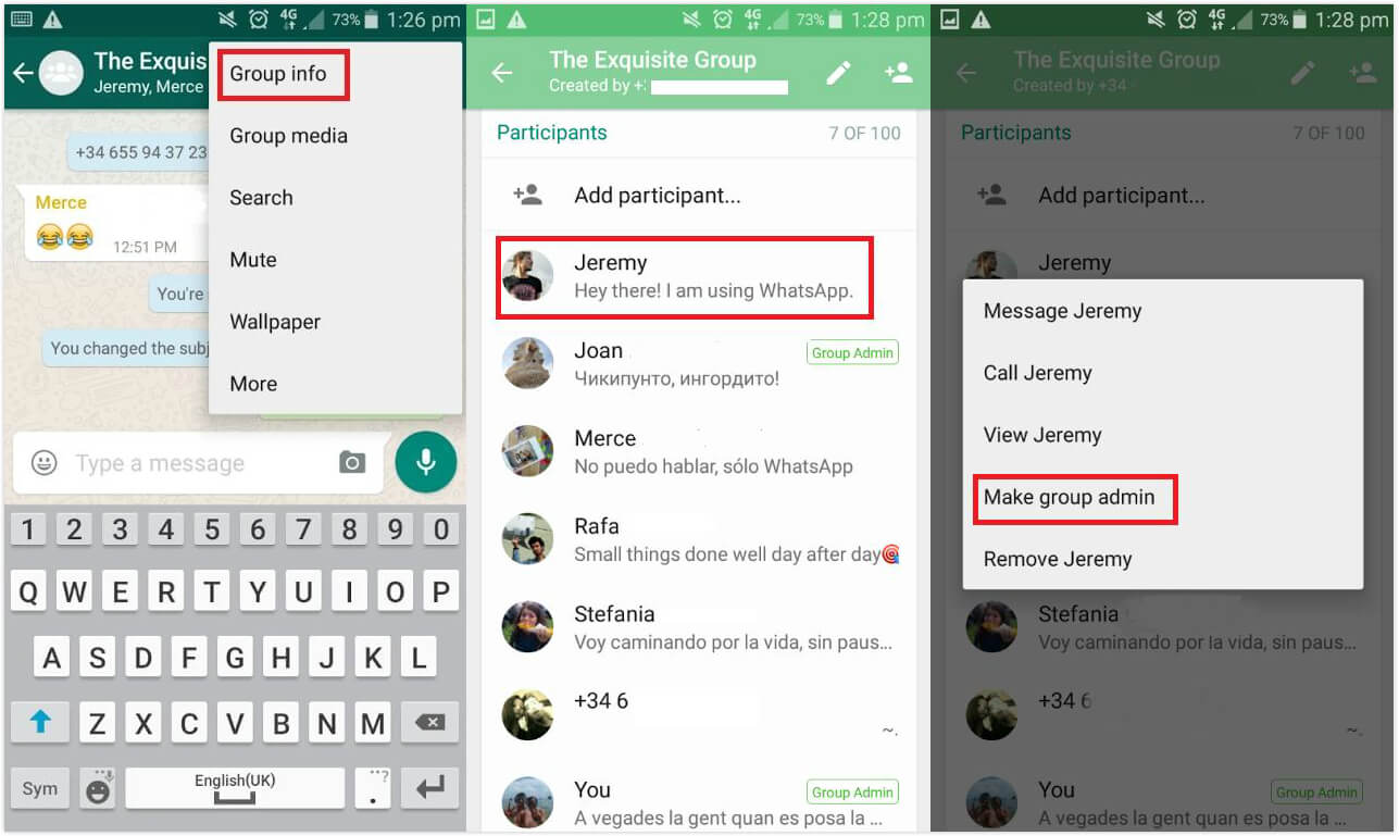 add more admins for whatsapp group