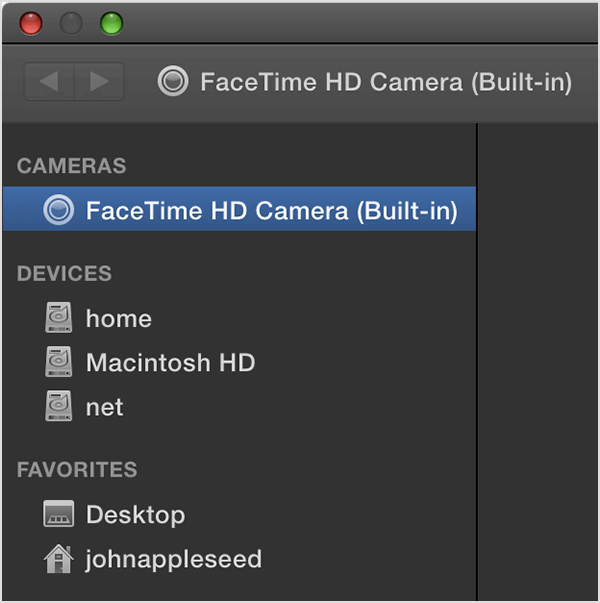 choose built in facetime camera