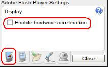 uncheck the option enable hardware acceleration